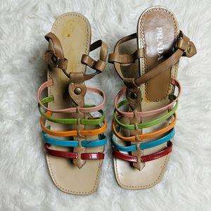 Prada Multi Strap Red Blue Brown Leather Heel sz 4